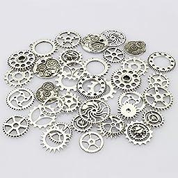 LolliBeads (TM) Antiqued Silver Skeleton Steampunk Watch Gear Cog Wheel Sets Tibetan Silver (40 Pcs)
