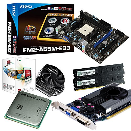 tronics24 PC Aufrüstkit | AMD A6-6400K 2x 3.9GHz Dual-Core | 8GB High-Speed DDR3-RAM PC-1600 GSKILL | Nvidia GeForce GT630 4GB | MSI A55M-E33 Mainboard mit AMD A55 Chipset | Gigabit-LAN | Soundkarte