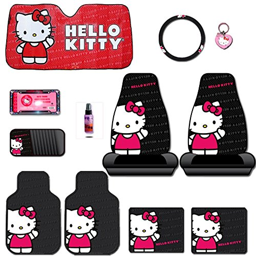 New Design 12 Pieces Hello Kitty Car Seat Cover with 4 Rubber Mats, License Plate Frame, CD Visor Organizer, Steering Wheel Cover, Large Size Sunshade, Key chain and Purple Slice Set (Hello Kitty Cd Car compare prices)