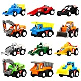 Pull Back Vehicles, 12 Pack Mini Assorted Construction Vehicles & Race Car Toy, Yeonha Toys Vehicles Truck Mini Car Toy for Kids Toddlers Boys Child, Pull Back & Go Car Toy Play Set