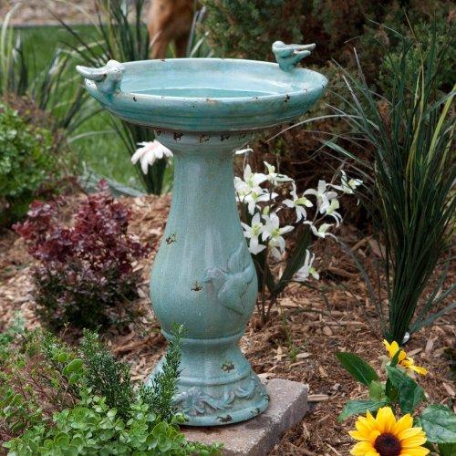 Antique Ceramic Bird Bath with Two Birds (Turquoise) (24