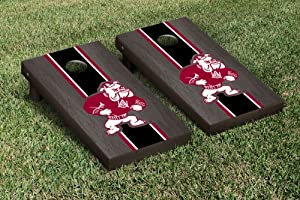 Alabama A&M University Bulldogs Cornhole Wooden Game Set Onyx Stained Stripe... by Gameday Cornhole