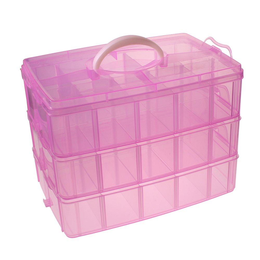 Caja contenedora con tres compartimentos en plástico transparente ideal para artículos de manualidades, por Kurtzy TM   Revisión del cliente y la descripción más