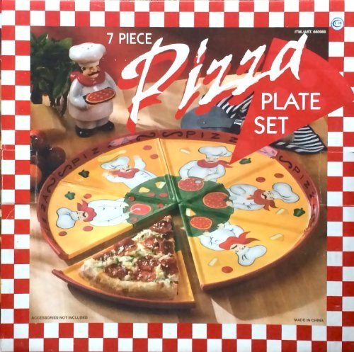 7-piece-colorful-hand-painted-italian-chef-pizza-slices-plate-set-with-chef-condiment-shaker-by-cost