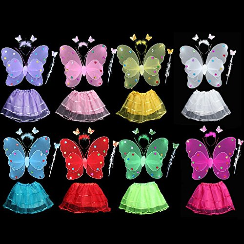 4 Pcs Wings Wand Set for Baby Girls Dress up Birthday Halloween Party Favor Gift
