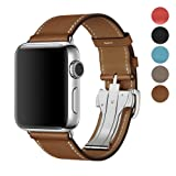For Apple Watch Band 42MM/38,Calfskin Leather Strap Replacement Band with Metal Butterfly Buckle for Apple Watch Series 3 / 2 / 1 (Brown, 42mm)