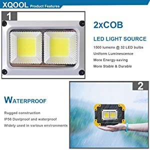 LED Portable Work Light, XQOOL Super Bright Rechargeable COB Flood Lights Waterproof Work Lamp with Stand Built-in Power Bank Job Site Light Indoor Outdoor Multi-Purpose Lights (L812Y-2PACK) (Color: L812y-2pack)