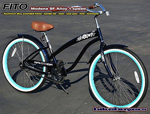 """Fito 36 Spoke 26/"""" front /& rear wheel kit BLACK for 1-speed beach cruiser bikes"""