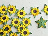 25mm Die Cut Sunflowers - 20 Yellow Paper Flowers with Brown Centre - Great for Scrapbooking and Creative Craft Projects