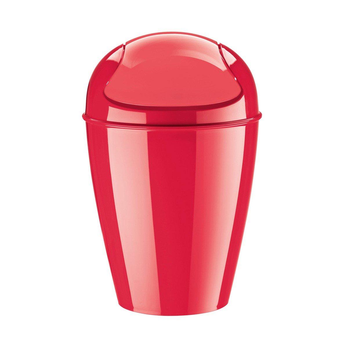 Koziol Del S, Swing-Top Wastebasket, Wastepaper Bin, Accessory, Solid Raspberry Red, 5777583 koziol набор соль перец step n pep koziol оранжевый прозрачный