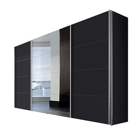 Solutions 49850-969 Schwebeturenschrank 3-turig, Korpus und Front graphit, Spiegel, Griffleisten alufarben, 68 x 350 x 216 cm