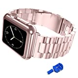 iitee Apple Watch Band, 38mm iWatch Band Stainless Steel Replacement Strap for Apple Watch Series 3 Series 2 Series 1 - Rose Gold