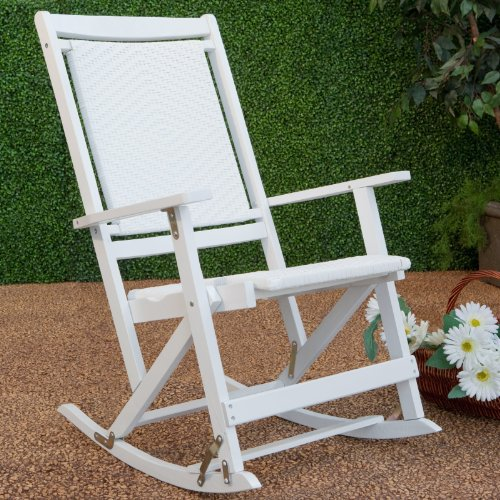 Hot Willow Bay Folding Resin Wicker Rocking Chair White Best Deal Patio
