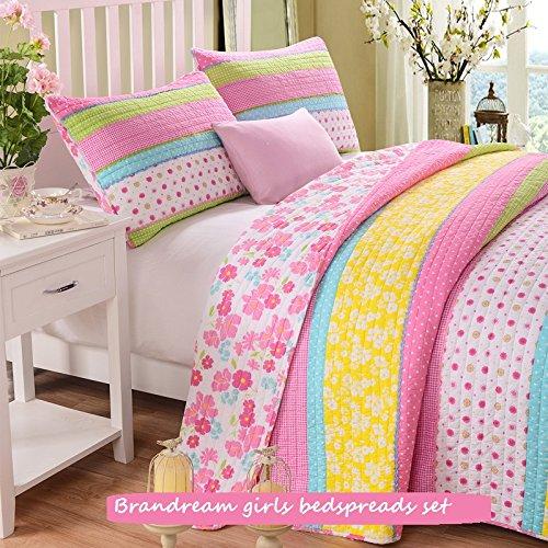 brandream twin full queen size pink polka dot stripe floral quilt set home garden linens bedding. Black Bedroom Furniture Sets. Home Design Ideas