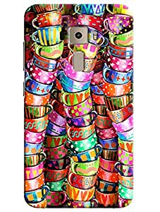 Omnam Coloful Cups Pattern Printed Designer Back Cover Case For Asus Zenfone 3 ZE552KL