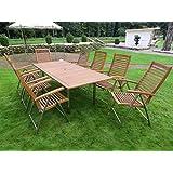 9-teilige Luxus Edelstahl Akazien Gartenmöbelgruppe
