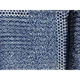 Indigo Color Hand Block Printed Kantha Quilt, Queen Size Patchwork Cotton Bedspread, Made By Artisians Of India