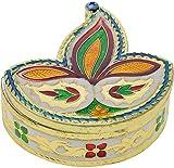 Rajwadi Meenakari Hand Made Work Deep Aluminium Puja Box (3 cm x 4 cm x 2 cm)