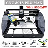 Upgrade CNC 3018 Pro MAX GRBL - 3 Axis PCB PVC Milling Router Engraving Machine with Protected Board - DIY Wooden Router Engraver Cutter Mini PCB Recorder Offline Support (Color: white, Tamaño: 5500MW)