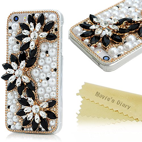 Iphone SE/5S/5 Case - Mavis's Diary 3D Handmade Bling Crystal Black Gem String Flowers Sparkle Glitter Gloden Diamond and Beautiful Pearls High Quality Clear PC Hard Back Case Cover for Iphone SE 5 5S