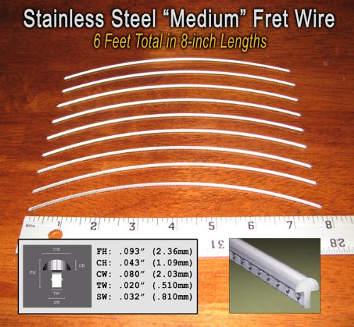 Guitar Fret Wire - Jescar Stainless Steel Medium Gauge - Six Feet (Fret Wire compare prices)