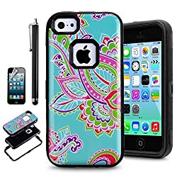 iPhone 5C Case,iPhone 5C Hybrid Case,AnnBay(TM) Triple Layer Hybrid Case Full-body Protection Heavy Duty Case with Totem Flower Pattern for iPhone 5C(Package Included:One Case,One Screen Protector,One Stylus Pen) (Black)