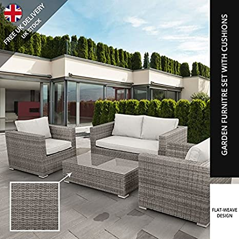 BillyOh Rosario Lounger - 4 Seat Rattan Sofa Set in Natural with Seat & Back Cushions