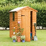 6' x 4' Wooden Garden Shed Single Door Apex Roof Overlap Wood 10 Year Anti-Rot Guarantee