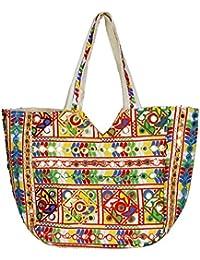 WhiteAsh Women's Jaipuri Printed Cotton Hand Bag Tote Bag Shopping Bag (Multi)