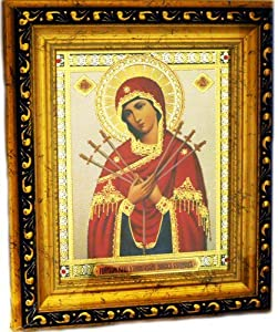 Mother of God St Mary Virgin Softner of Evil Hearts Russian Icon Wood 8 1/4 Inch Gold Frame