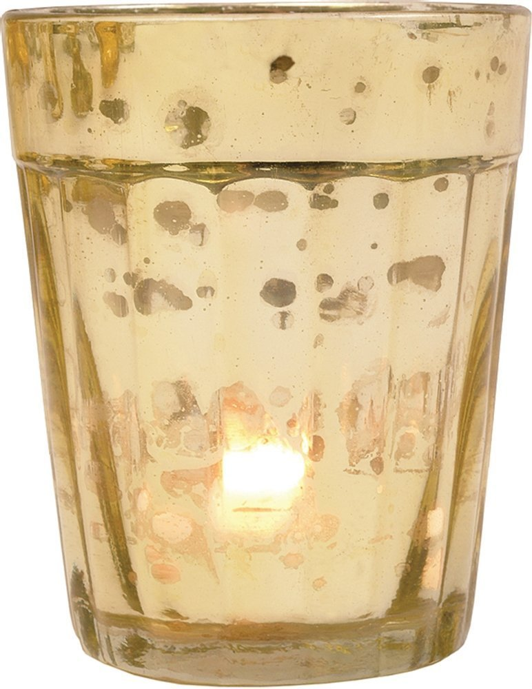 Luna Bazaar Best of Vintage Mercury Glass Candle Holders (Gold, Set of 6) - For Use with Tea Lights - For Home Decor, Parties, and Wedding Decorations - Mercury Glass Votive Holders