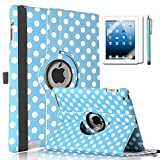 ULAK Premium PU Leather 360 Degree Rotating Smart Stand Case Cover for Apple iPad 2 iPad 3 iPad 4 New iPad with Screen Protector, Stylus and Auto Wake/Sleep Function (Aqua Blue + White Polka Dots)