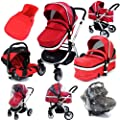 iSafe System - Red Travel System Pram & Luxury Stroller 3 in 1 Complete With Footmuff, Carseat Footmuff, All the Raincovers by iSafe