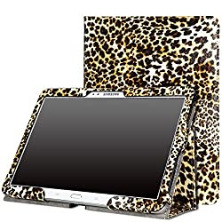 MoKo Samsung Galaxy Note 10 2014 Edition Case - Slim Folding Cover for Note 10.1 Inch 2014 Edition Tablet Leopard BROWN (With Smart Cover Auto Wake / Sleep)
