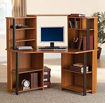 Corner Computer Desk Workstation with hutch, Brown