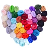 Zealor 45 Colors Needle Felting Wool, Wool Fibre Wool Yarn Roving for Needle Felting Hand Spinning DIY Craft Materials (Color: 45 Colors)