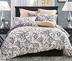 Word of Dream 200TC 100% Combed Cotton Floral Duvet Cover Sets 3 Piece,Printed Designer Duvet Covers with Shams, Blossom Patterned, Full/Queen