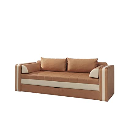 Schlafsofa Euforia, Couch mit Bettfunktion, Polstersofa mit Bettkasten und Schlaffunktion, Bettsofa, (Alcala 46 + Soft 033)