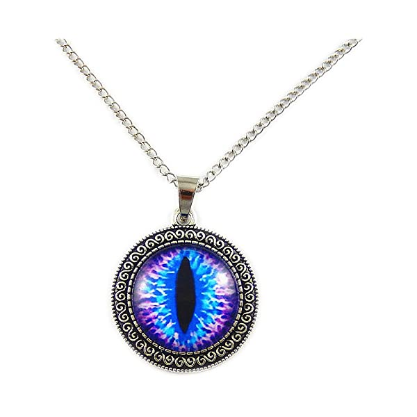 Retro antiqued silver dragon eye pendant necklace purple blue pupil retro antiqued silver dragon eye pendant necklace purple blue pupil w 27 long chain halloween party aloadofball Images