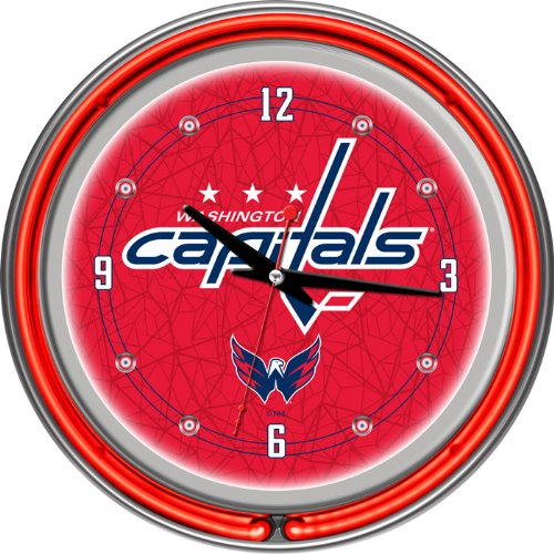 NHL Washington Capitals Neon Clock - 14 inch Diameter - Game Room Products Neon Clocks NHL - Hockey