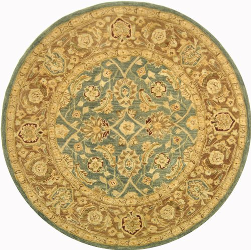Safavieh Anatolia Collection AN549B Handmade Blue and Brown Hand-Spun Wool Round Area Rug, 6-Feet