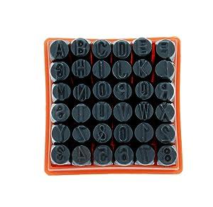 ABN Metal Large 1/4in Stamping 36-Piece Tool Kit - Alphabet, Numbers, Symbols Steel Embossing & Engraving Stamp Set (Tamaño: 1/4 Set)