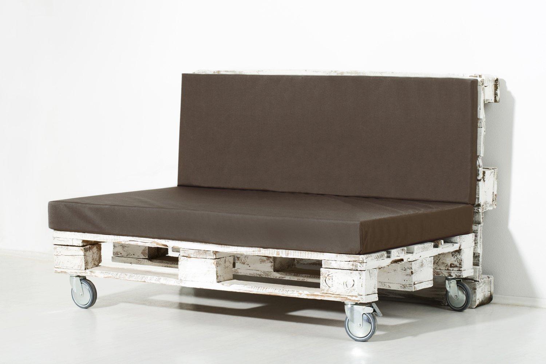 PALEMARE Palettenkissen Matratzenkissen RG50 Nylon 120x80x15cm (Set: Sitzkissen + Rückenlehne) Outdoor Bezug Braun waschbar günstig