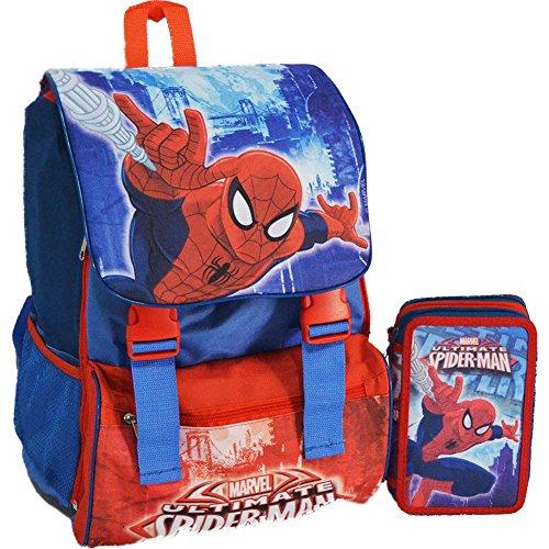Kit Scuola School Promo Pack Zaino Estensibile + Astuccio 3 Zip Disney Spiderman Uomo Ragno Edizione 2015-2016