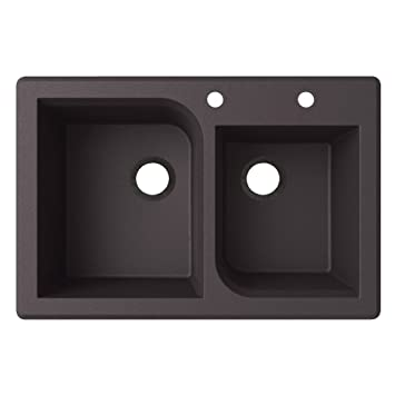Swaoi|#Swanstone QZ03322RC.077-2B 22-In X 33-In Granite Kitchen Sink 2-Hole, Nero,