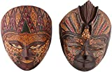 FURNCOMS Wooden Batik Mask - 19 cm x 9 cm x 23 cm, Multi Colour