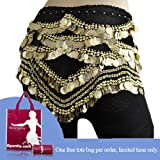 Bellyqueen Belly Dance Hip Scarf, 480 Gold Coins, Deluxe V-Shape