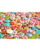 Pack of 50g Over 100pcs Buttons- Mixed Colours of Various Plain Round DIY Buttons for Sewing and Crafting