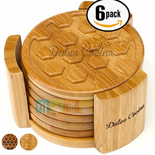 dulce-cocina-coasters-6-pack-bamboo-in-elegant-holder-grooved-design-deep-tray-trapping-condensation