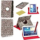 Fulland Colorful 360 Rotating Flip Leather Case Cover for Samsung Galaxy Tab3 10.1 P5200 with Smart Auto Wake/Sleep Function plus Stylus Touch Screen Pen and Screen Protector-Leopard Red